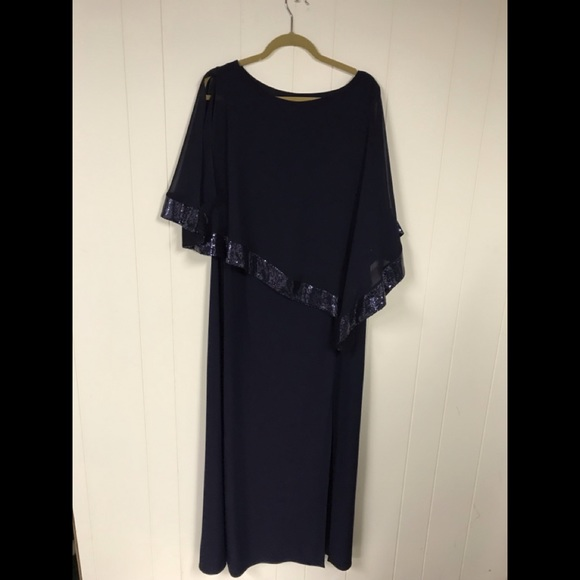 Navy gown with cape plus size